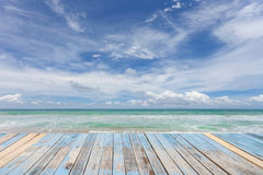 Wooden floor with beautiful blue sky scenery for background. Royalty Free Stock Photography