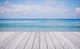 Wooden floor with beautiful ocean Stock Images