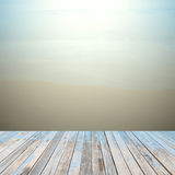 Wooden floor with beautiful ocean and blue sky retro pastel  sce Royalty Free Stock Photography
