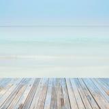 Wooden floor with beautiful ocean and blue sky retro pastel sce. Wooden floor, with beautiful ocean and blue sky retro pastel . scenery stock photos