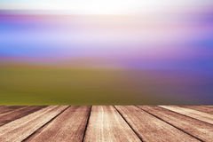 Wooden floor with beautiful ocean and blue sky scenery Royalty Free Stock Photography