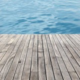 Wooden floor and sea Stock Photography