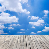 Wooden floor and blue sky Stock Photos