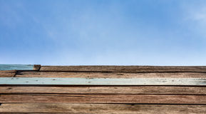 Wooden Floor with blue sky background Royalty Free Stock Photo