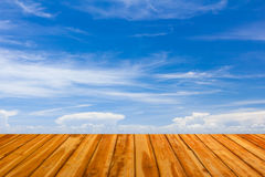 Wooden floor with blue sky Royalty Free Stock Image