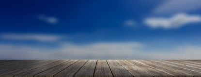 Wooden floor, blue sky at sunrise background, banner, copy space. 3d illustration Stock Photography