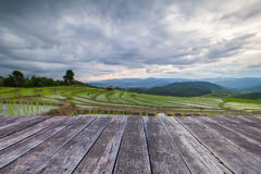 wooden floor and Blured Agriculture terrace rice fields on the m Stock Images