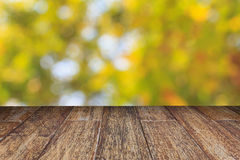 Wooden floor and blurred bokeh background Royalty Free Stock Photo