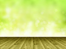 Wooden floor and blurry background as a wall Royalty Free Stock Images