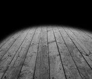 Wooden floor boards. And black background Stock Photo