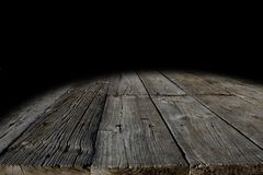 Wooden floor boards. And black background Royalty Free Stock Images