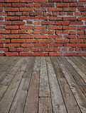 Wooden floor and brick wall. Royalty Free Stock Photos