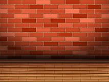 Wooden floor and brick wall Stock Image