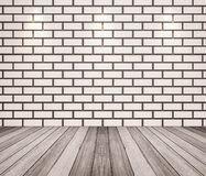 Wooden floor with brick wall Royalty Free Stock Image