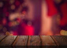 Wooden floor with Christmas theme background. Digital composite of Wooden floor with Christmas theme background Royalty Free Stock Images