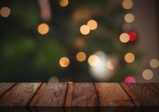 Wooden floor with Christmas theme background. Digital composite of Wooden floor with Christmas theme background Stock Photos