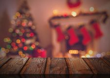 Wooden floor with Christmas theme background. Digital composite of Wooden floor with Christmas theme background Royalty Free Stock Photography