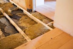 Wooden floor constructing stock photo