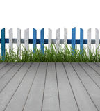 Wooden floor with fence and green grass Royalty Free Stock Images