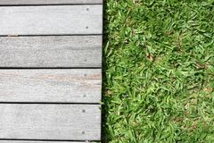 Wooden floor and grass royalty free stock photo
