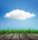 Wooden Floor, Grass And Cloud Stock Photography