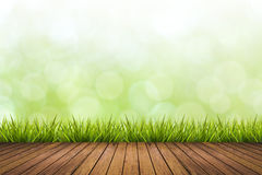 Wooden floor, grass and green blurred background Royalty Free Stock Photos