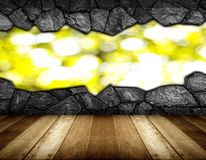 Wooden floor and gray cracked stone wall background Royalty Free Stock Photography