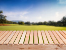 Wooden floor with green field and blue sky. Background Stock Photos