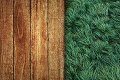 Wooden floor with green grass royalty free stock photography