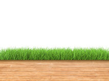 Wooden floor with green grass Royalty Free Stock Images
