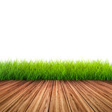 Wooden floor with green grass Stock Image