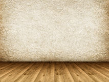 Wooden floor and grunge wall Stock Photo