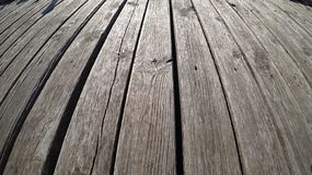 Wooden floor on long pier stock photo