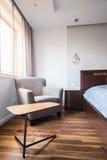 Wooden floor in modern bedroom Royalty Free Stock Photos