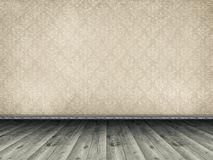 Wooden floor and patterned wallpaper Royalty Free Stock Photos