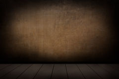 Wooden floor and plaster walls background. Stock Photography