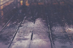 Wooden floor with rain drops, fall background Stock Image