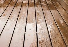Wooden floor in rainy day Stock Images