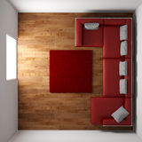 Wooden floor with red leather couch Royalty Free Stock Images