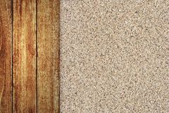 Wooden floor with sand background Royalty Free Stock Photo