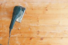 Free Wooden Floor Sanding With Flat Sander Tool Stock Images - 156805574