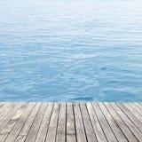Wooden floor and sea Stock Photo