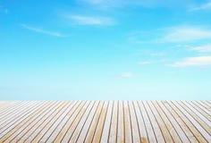 Wooden floor and sky Stock Photo