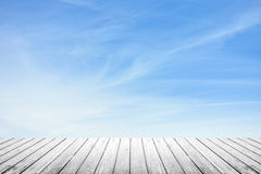 Wooden floor and sky background Stock Images