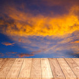 Wooden floor with sky Stock Photography