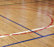 Wooden floor of sports hall Stock Photo