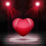 Wooden floor, two spot and heart Stock Photo