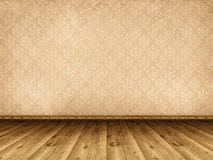 Wooden floor and vintage wallpaper Stock Photography