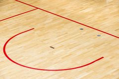 Wooden floor volleyball, futsal, basketball, badminton court with light effect Wooden floor of sports hall with marking lines line. On wooden floor indoor, gym stock photography