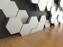 Wooden floor with white hexagons pattern on dark wall background. 3D rendering Stock Image